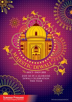 To develop a press ad and key visual for Sunway Pyramid shopping mall about the celebration of Diwali For Hindus, Diwali is one of the most important festivals of the year and is celebrated in families by performing traditional activities together i… Diwali Party, Diwali Celebration, Festivals Of India, Indian Festivals, Diwali Inspiration, Sketch Inspiration, Diwali Flowers, Diwali Poster, Diwali 2018