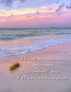 El cuerpo necesita descanso, la mente paz y el corazón alegrías. Spanish Songs, Spanish Quotes, Frases Relax, Faith Quotes, Life Quotes, Spanish Inspirational Quotes, Lessons Learned In Life, Beach Quotes, Motivational Phrases