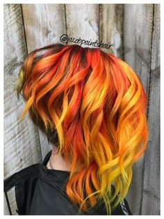 Fire hair. Orange hair. Yellow hair. Red hair. Fire Ombre. Fire. Short hair. Medium hair.