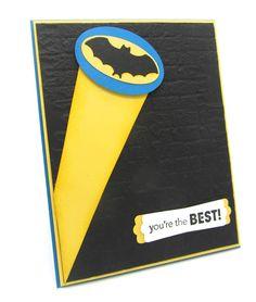 dada dada dada dada Batman ,,, (Batman Card using the Perfect Pendant Die and the Stampin' Up! Birthday Cards For Boys, Bday Cards, Birthday Kids, Tarjetas Diy, Punch Art Cards, Karten Diy, Cricut Cards, Cool Cards, Cards Diy