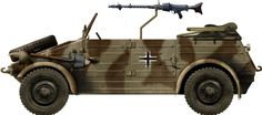 "Quite a famous ww2 liaison vehicle, the German VW type 82 Kübelwagen (""bucket car"") were seen on every front from 1939 to 1945 and had a long life postwar."