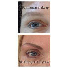 Permanent makeup före och efter, utfört på Salong Beautybox.