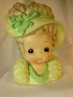 Vintage Josef  Girl  Child Head Vase with by VintageQualityFinds