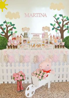 Pastel dessert table at a Peppa Pig birthday party! See more party planning ideas at CatchMyParty.com!