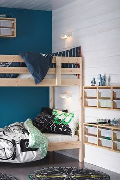 A bunk bed and storage in warm, solid wood. Perfect for kids and robots.