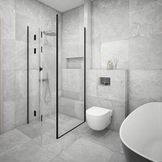 Modern bathroom interior. Modern tiles. Concrete tiles. Apdailos namai Bathroom Shelf Decor, Rustic Bathroom Shelves, Small Bathroom, Bathroom Ideas, Modern Bathrooms Interior, Interior Modern, Glamorous Bathroom, Guest Bathroom Remodel, Bathroom Cleaning Hacks