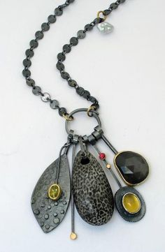 Sydney Lynch - Fossil Coral Cluster necklace (interesting way to use this type of chain.)