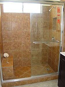 Walk In Shower with Bench : Concrete Powder
