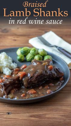 Tender, juicy and delicious! Lamb Shanks take no time to put together! #lamb #slowcooked #braised #easyrecipes #comfortfoods