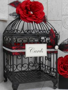 Red and Black Wedding Birdcage Card Holder / Wedding Card Box / Wedding Card Holder / Goth / Gothic / Victorian by ThoseDays on Etsy Birdcage Card Holders, Masquerade Wedding, Masquerade Theme, Skull Wedding, Wedding Henna, Card Box Wedding, Wedding Ideas, Wedding Table, Wedding Quotes