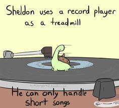 Sheldon the tiny turtle dinosaur! Sheldon The Tiny Dinosaur, Dinosaur Funny, Funny Cute, The Funny, Hilarious, Cute Comics, Funny Comics, Turtle Dinosaur, Turtle Meme