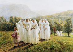 19th-Century American Painting and Sculpture:  Jules A. Breton (1827-1906),  Young Women Going to a Procession,  1888 Oil on canvas, 49 ½ × 69 in. Proctor Collection, PC. 10