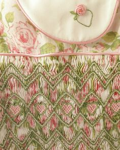 Close up of lovely smocking on Liberty of London fabric on a Children's Corner Lee.
