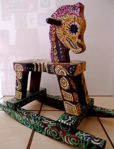 Day of the Dead rocking horse.  Artist unknown.