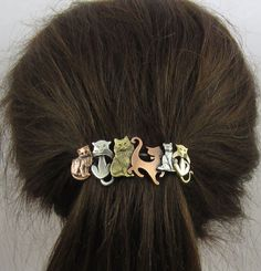 CAT CRAZY FRENCH Barrette 80mm- Cat Hair Clip- Cat Lover Gift- Hair Accessories