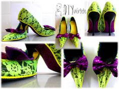 #DIY, #customizar #zapatos de #tacón con #encaje #flúor y #purpurina.
