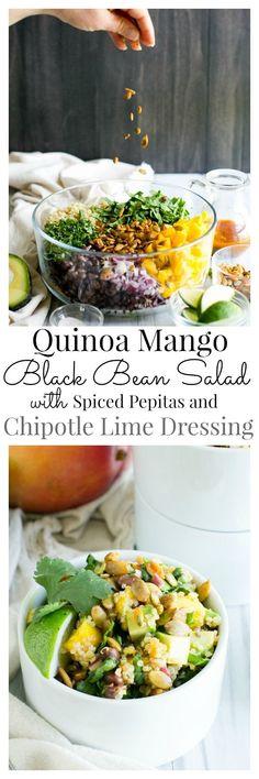 Quinoa Mango Black Bean Salad with Smoky Pepitas and Chipotle Lime Vinaigrette