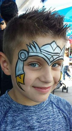 Mark reid thor face painting design face painting for boys, superhero face painting, body Cool Face Paint, Mime Face Paint, Face Paint Makeup, Face Painting Tutorials, Face Painting Designs, Paint Designs, Superhero Face Painting, Face Painting For Boys, Boy Face