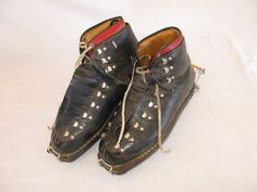 Vintage Pair of Alpina Nordica Black Leather Ski Boots Steampunk Men's S 9 Italy #AlpinaNordica