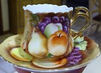 Lefton Hand-Painted Tea Cup and Saucer, Brown Heritage Fruit orchard