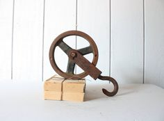 Industrial Pulley // Primitive Display by genrestoration on Etsy, $42.00