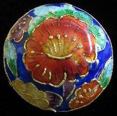 Floral Japanese Cloisonne Enamel.Button