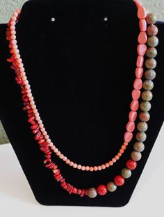 Red, Pink and Marbled Green Semi-Precious Statement Necklace