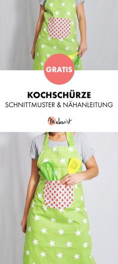 Gratis Anleitung: Kochschürze mit großer Tasche nähen - Schnittmuster und Nähanleitung via Makerist.de