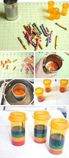 make rainbow crayons out of old crayons and pill bottles - is this why I keep saving these bottles?