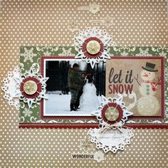 Papered Cottage: let it snow scrapbook layout, with glittered snowflakes.