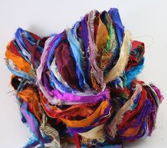 Amazon.com: Multicolored Tibet Jewels Silk Sari Strip Ribbon Yarn 100g