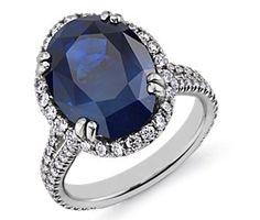 Sapphire and Diamond Ring in Platinum #BlueNile