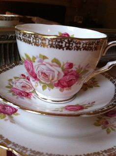 Vintage bone china tea cup trio
