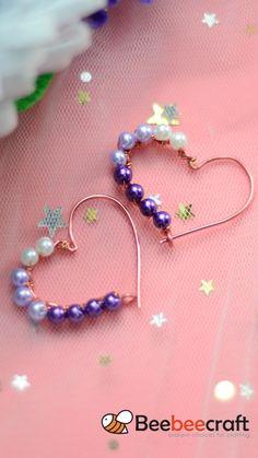 Wire Jewelry Designs, Resin Jewelry, Wire Wrapped Jewelry, Jewelry Crafts, Beaded Jewelry, Jewellery, Jewelry Ideas, Diy Earrings, Earrings Handmade