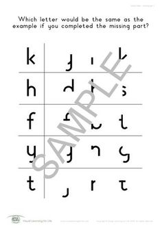 This activity addresses visual closure; being able to recognize a letter even though it is missing a part of it.