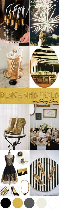 Black + Gold Wedding Ideas http://www.theperfectpalette.com/2014/09/black-gold-wedding-ideas.html