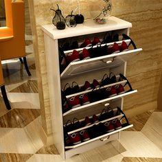 O envio gratuito de alta 60 de largura 25 de comprimento 80/114 cm sapato rack jardim Europeu simples branco duas ou três portas pequeno balde caixa