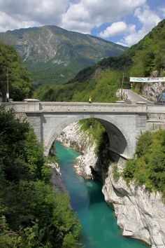 Napoleon Bridge over the Soca river near the town of Kobarid, Slovenia Napoleon, Great Hotel, Slovenia, Day Trips, Kayaking, Most Beautiful, Waterfall, National Parks, Europe