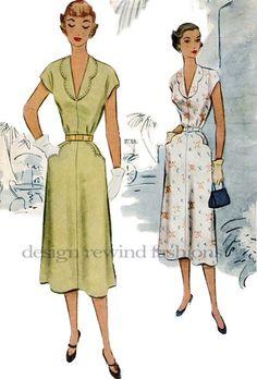 1950s Scalloped Edge Shawl Collar Dress w/ by DesignRewindFashions, $30.00