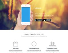 Lifetrackr - app landing page Live Demo App Landing Page, Bootstrap Template, A Day In Life, Let It Be, Templates, Easy, Models, Stenciling, Stencils