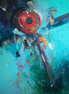 "Helen Kaminsky, artist, ""Sunday A.M."" - mixed media piece for the Art House exhibition"