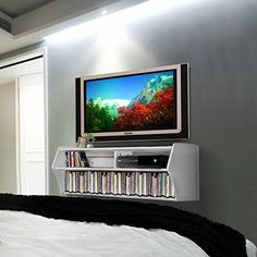 Details about floating stand wall mounted media console video game center white tv seattle 21 Floating Media Console, Wall Mounted Media Console, White Tv, White Wood, Console Storage, Eating Before Bed, Bath And Beyond Coupon, Diy Entertainment Center, Diy Cabinets