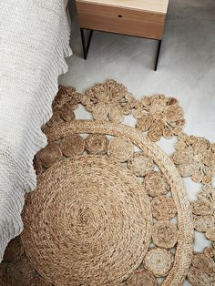 Hemp Flower Weave Rug. Warmth, elegance and soft femininity combine to bring a definite touch of personality to any room.