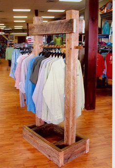 Reclaimed Timber clothing racks and display stands.  Also for clothes in a mud room, guest room or garage. . .
