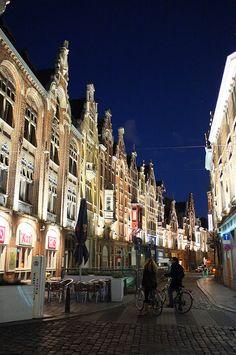 Streetview at night in Ghent, Belgium