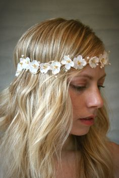 White and Gold Cherry Blossom Bridal Floral Halo Wreath with Ribbon Tie. Bridal Hair Adornment. Wedding Accessory.