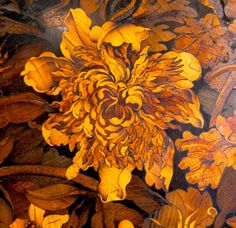 """""""This lush marquetry (inlaid wood) panel is mounted on a French circa 1700 armoire made by court designer Andre Charles Boulle. His surname has become synonymous with rich inlays. A piece of furniture inlaid with tortoiseshell and engraved metals is known as """"boullework"""" whether it was made in the 17th century or last Tuesday..."""" (Aestheticus Rex)"""