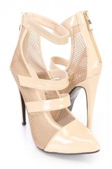 Beige Netted Strappy Single Sole Heels Patent