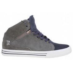 Supra Society Mid Skate Shoes Grey/Blue Suede - Mens  Classic mid top silhouette incorporating the modern styling of the Society. Notched heel allows for full range of motion while the mid top height provides superior ankle protection and support. Extra heel protection molded into high memory polyurethane insole. Exclusive SUPRAFOAM midsole providing entire foot impact resistance, optimal shoe flex and board feel. Neoprene lining and internal neoprene bootie provide unmatched comfort and…