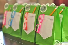 Check out these awesome favor bags from an equally awesome mad science birthday party!
